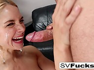 Classy MILF Sarah Vandella nicely facialized after active lovemaking with muscular lover 11