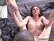 Poor guy forced to see Ebony friend making love with his dirty stepmother Katie Angel 11