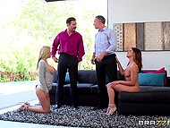 Sluts Alexis Fawx and Adriana Chechik embark nasty foursome with husbands 5