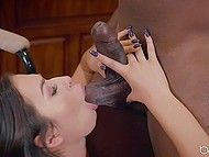 Slutty girl Melissa Moore was in mood for spontaneous sex with handsome black neighbor 4