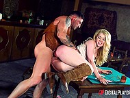 There are no people in bar and brave cowgirl Misha Cross takes care of cool guy's penis 8