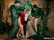 Group sex with anal penetration will help busty Rebecca More redeem herself to fearsome king