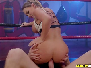 Magnificent boxer girl Cali Carter decides to finish sparring and practice anal fuck in the ring