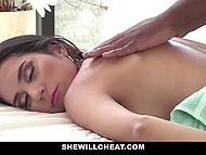 Married Latina babe Tia Cyrus checks hands of black masseur and massive penis inside crotch 4