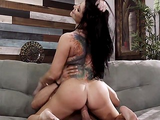 Top-class lady with awesome tits, long hair, tattoos, and big bottom has sex with her lover