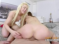 Teen blonde with small tits and girlfriend stop put pillows aside and deal with man's cock 10