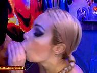 Hot men pour urine and sperm over slutty Chessie Kay's giant doughnut lips and boobs 7