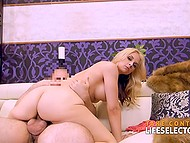 Boy quickly came because of oral pleasure but instantly wore a condom and continued bonking blonde's pussy 10