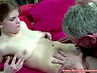 Young hooker from Amsterdam sucks cum off old man's balls and spits it in his mouth 7