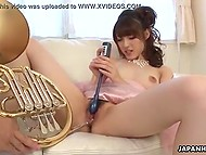 Japanese musician uses his French horn instead of sex toy to polish girlfriend's muff 7