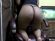 Homemade video of tireless Indian woman with big ass dancing seductively and dildoing pussy 5