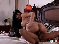 Stepdaughter is out of town and gorgeous Latina Mercedes Carrera serves her boyfriend's black dick