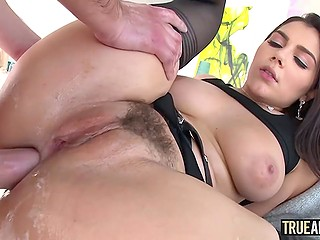 Lassie with awesome booty Valentina Nappi receives cock in anal opening and sperm in mouth