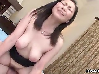 Smart guy licks hairy pussy of big-boobied Japanese girlfriend to make upcoming penetration pleasant