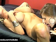 Hot Swedish sexpot Puma Swede rubs her pussy against hole of busty girlfriend with pale skin 7