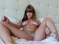 Attractive young colleen gets naked and caresses her nice trimmed sissy in solo video 9