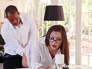 Secretary Gabriella Paltrova cheats on boyfriend with Ebony boss who roughly drills her in ass 3