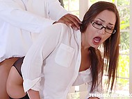 Secretary Gabriella Paltrova cheats on boyfriend with Ebony boss who roughly drills her in ass 6