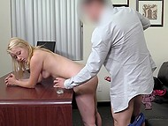 At porn audition, sweet blonde agrees to toy shaved pussy and also to gag on agent's cock 11