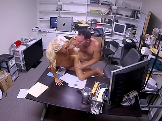 Blonde was caught lying and punished for such behavior by the manager on working table