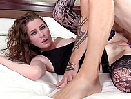 Deceive girl in fishnet stockings is brave enough to try anal for successful porn casting