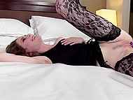 Deceive girl in fishnet stockings is brave enough to try anal for successful porn casting 4