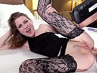Dildo just temporary plugs long-legged whore's anal hole to make place for dick a bit later