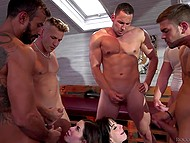 Two dark-haired sluts serve four guys at a time and share all received sperm equally 6