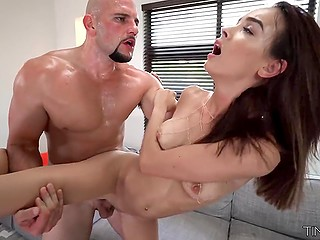 Slender colleen is crazy about powerful huge cock that she gets in her juicy twat and tender mouth