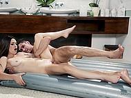 Brilliant brunette bimbo proves that massage procedures include hot sex action with client
