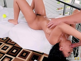 Guy gives Katt Garcia oil massage and his main goal is to fuck this smoking-hot Ebony babe