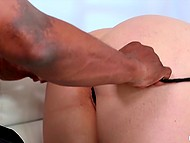 Hot blonde with round ass and natural jugs let black partner nail her from behind 9