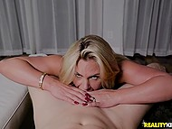 Bald-headed macho puts dick in mouth and vagina of blonde bombshell in front of her husband 7