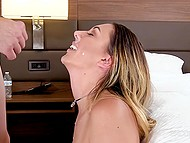 Agent overestimates his forces and cums over fresh girl's face too early at casting 8