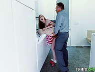 Master helps cute babysitter Dolly Leigh get free from trouble and she rewards him in right way 7