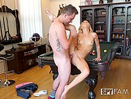 Dude calls his golden-haired stepsister to show her new billiard table and takes her pussy on it 8