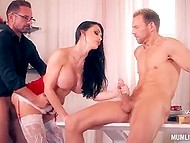 Hottest Hungarian pornstar in New Year style clothing Aletta Ocean double penetrated and facialized 7
