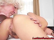 Teen brunette and old lesbian with white hair eat each other's anal hole on bed 11