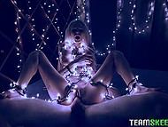 Blonde decides to turn great idea into reality and wraps white Christmas lights around her body before fucking 6