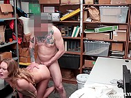 After security officer fucks adorable shoplifter from behind, he cums on girl's face and bangs her once again 8