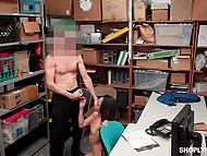 Asian shoplifter couldn't imagine that for stealing security officer would fuck her and cum on face 10