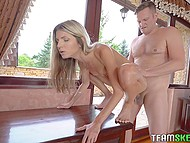 Teen Russian starlet Gina Gerson tirelessly pushes smooth cunny on tall partner's dick 5