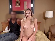 While cameraman is doing his work black young man penetrates mouth of a fragile chick 5