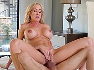Blonde MILF Brandi Love with massive tits is so hot that she seduces young boys without any problem