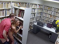 Freshman Aubrey Sinclair and her BF broaden sexual horizons by having sex in library