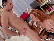 Young man knows redhead works for two so he helps female relax through anal fucking 11