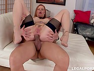 Young man knows redhead works for two so he helps female relax through anal fucking 8