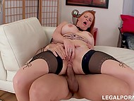 Young man knows redhead works for two so he helps female relax through anal fucking 9