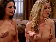 Curvy blonde AJ Applegate dragged into threesome with stepsister and her mistress 4