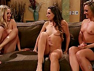 Curvy blonde AJ Applegate dragged into threesome with stepsister and her mistress 5